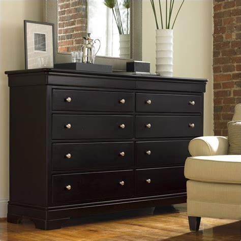 Black Bedroom Dressers | stanley furniture louis louis black opal double dresser