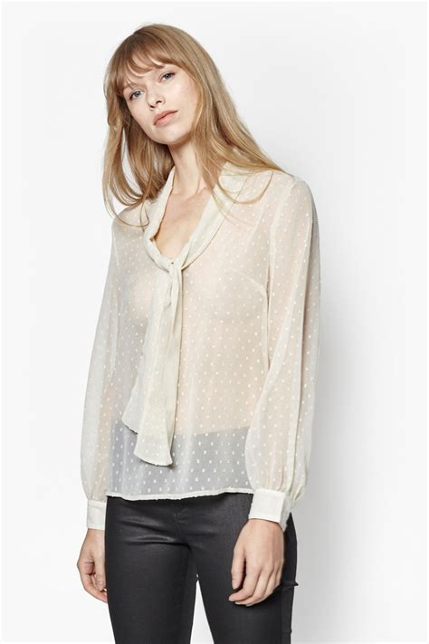 dotted chiffon blouse dot embroidered chiffon blouse tops connection