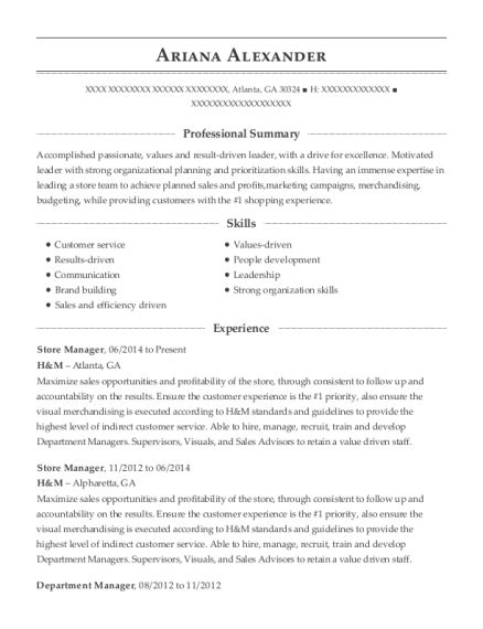 h m sales advisor resume sle denver colorado resumehelp