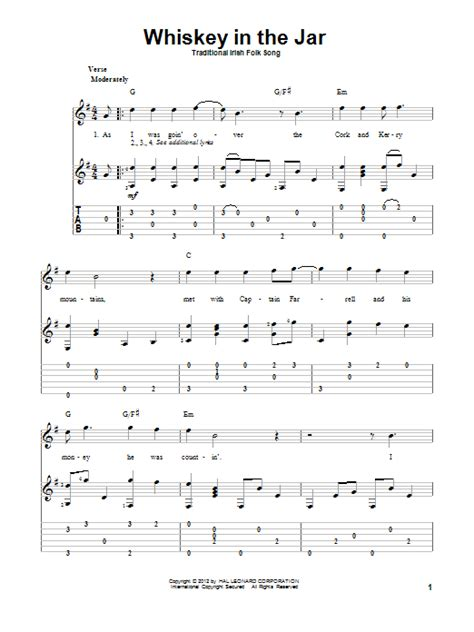 metallica whisky in the jar lyrics whiskey in the jar guitar tab by irish folksong guitar