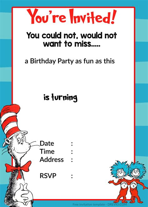 dr seuss birthday card template free printable birthday invitation templates free