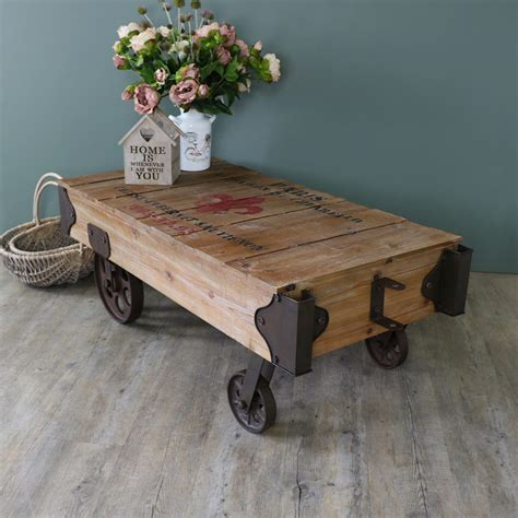 Cart Style Coffee Table Large Industrial Railway Cart Style Coffee Table Melody Maison 174
