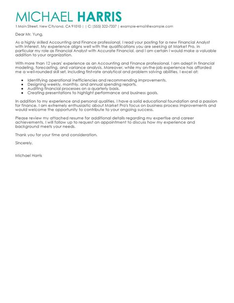 Cover Letter Finance Position Best Accounting Finance Cover Letter Exles Livecareer