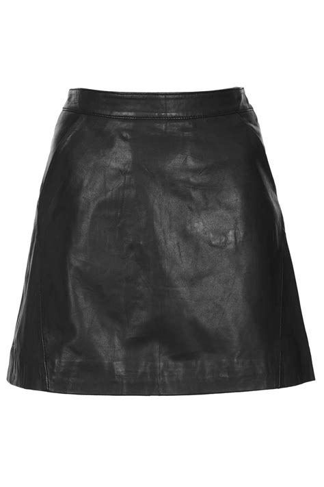 topshop black leather a line skirt in black lyst