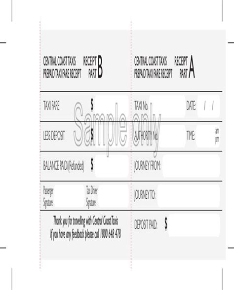 prepaid rent receipt template sle prepaid taxi receipt for free formtemplate