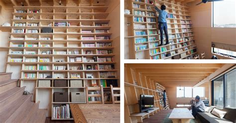 Bookshelf Home by Japanese Home Designed Around A Climbable Bookshelf