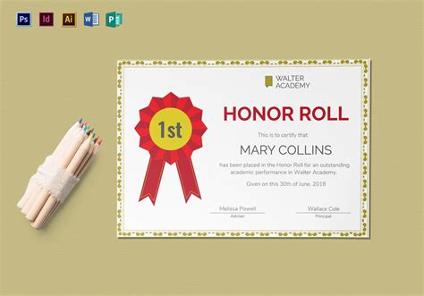 templates for honor roll certificates honor roll certificate design template in psd word