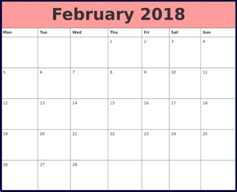 printable monthly calendar february 2018 february 2018 calendar monthly printable