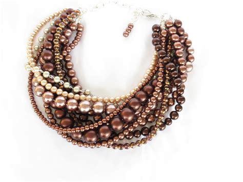 chunky brown pearl statement necklace by wildflowersandgrace