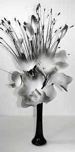 black grey white artificial flower arrangement in vase ebay