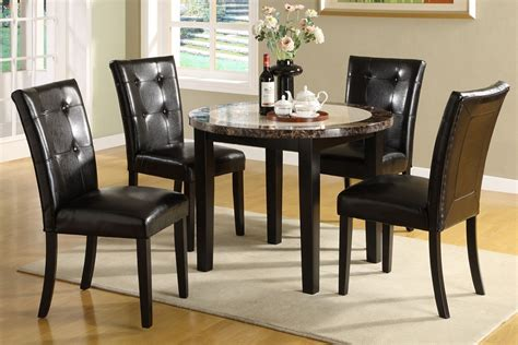 atlas marble top solid wood dining table set 5pc