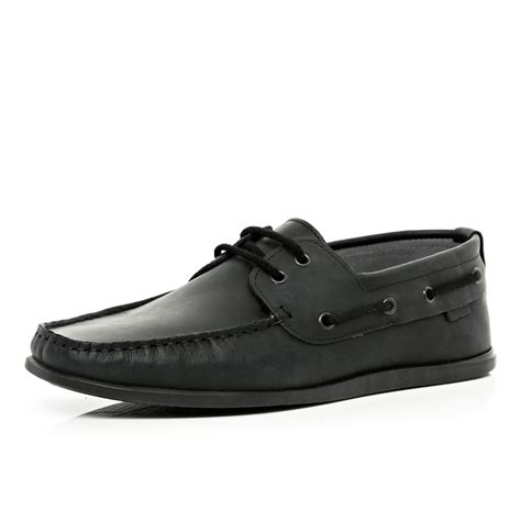 river island black boat shoes in black for lyst