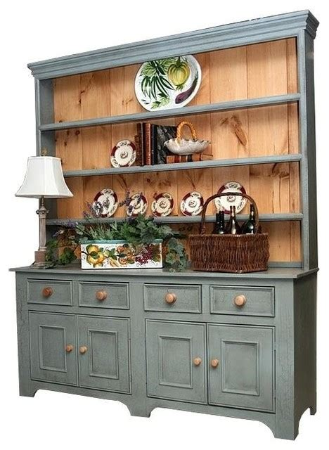 Country Sideboards And Hutches 6 ft country sideboard w 4 drawers 3 shelf hutch grey traditional buffets