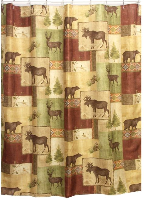 Cabin Shower Curtains Mountain Moose And Bath Set Cabin Decor Shower Curtain Rug