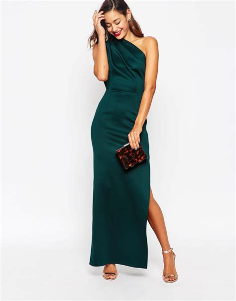 One Shoulder Maxi Dress lyst asos one shoulder scuba maxi dress with exposed zip
