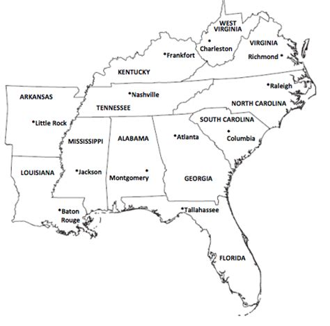 map of southeast region states pictures to pin on