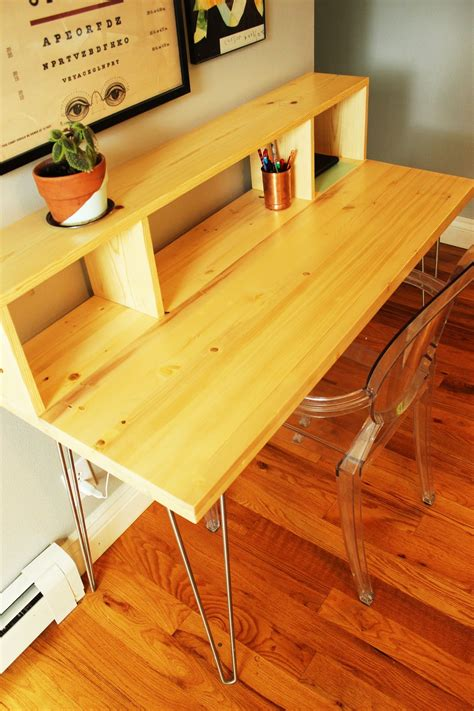 diy desk with hairpin legs how to build a contemporary desk with shelf and hairpin legs