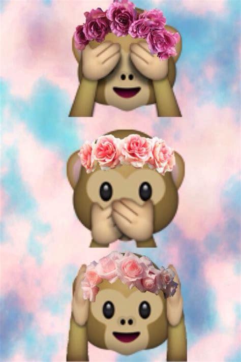 cute wallpaper of emoji cute monkey emoji wit flower head band overlays pinterest