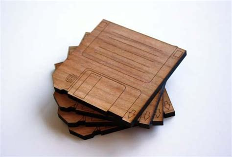 Cool Drink Coasters by The Handmade Floppy Disk Inspired Wood Coaster Set Gadgetsin