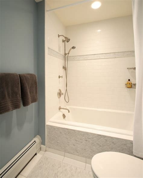 bathtub with tile walls drop in shower ideas transitional bathroom olga