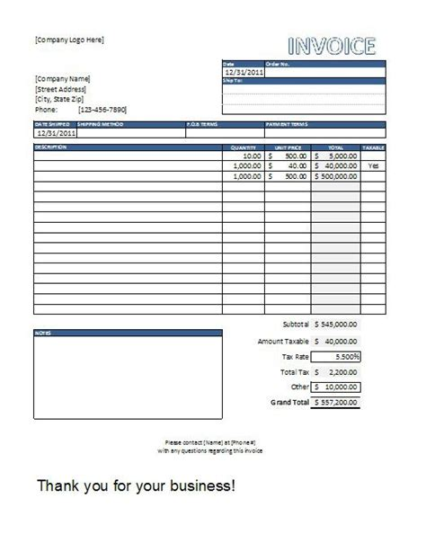 construction invoice template excel free excel templates