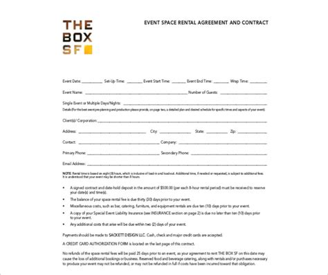 event space rental contract template room rental agreement template free word form