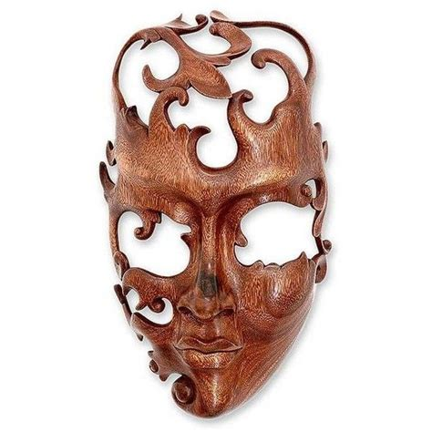 novica modern wood mask  indonesia