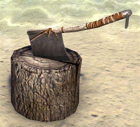 eso fashion block  axe chopping elder scrolls