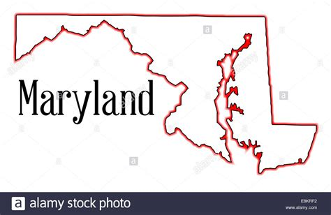 Maryland Map By County Outline by Outline Map Of The State Of Maryland Stock Photo Royalty Free Image 74194262 Alamy