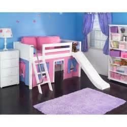 powell princess castle loft bed with slide and tent
