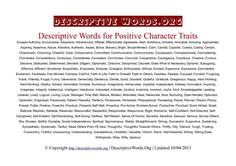 descriptive words for positive character traits descriptive words list of adjectives word