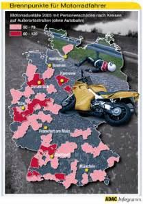 Motorrad Deutschlandkarte deutschlandkarte die meisten verungl 252 ckten motorradfahrer
