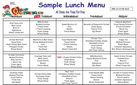 nursing home menu planning childcare lunch menu google search meals for the day