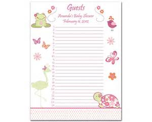 baby shower guest list template baby shower gift list templates http www etsy