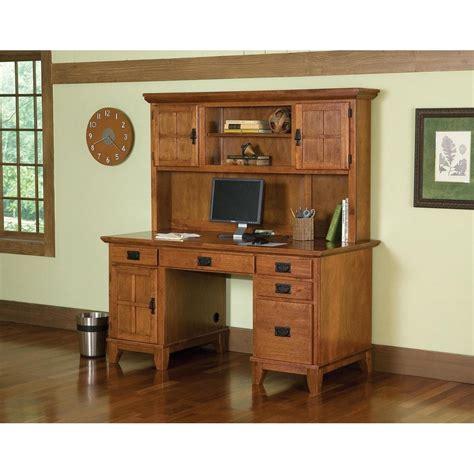 Arts & Crafts Pedestal Desk and Hutch Cottage Oak Finish