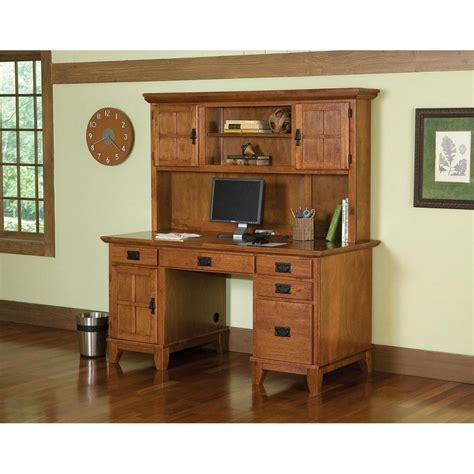 Arts & Crafts Pedestal Desk and Hutch Cottage Oak Finish