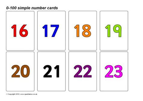 A Gift Card Number - simple 0 100 number cards coloured numbers sb8923 sparklebox