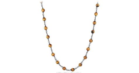 david yurman rosary bead necklace in tiger eye in gold for