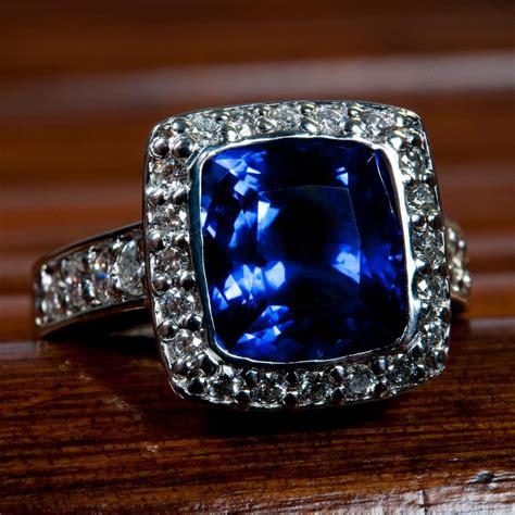 cushion blue sapphire and ring worthington jewelers