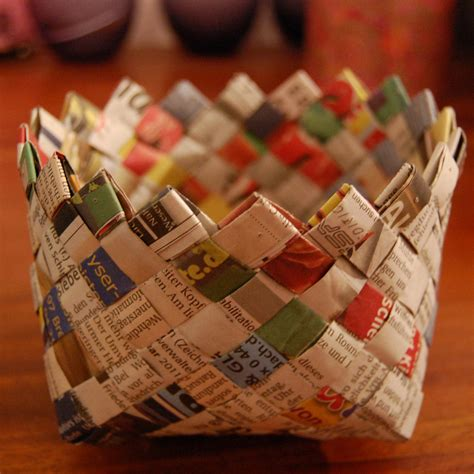 How To Make A Woven Basket Out Of Paper - pretty pieces weave a basket out of newspaper