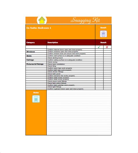 snag list template free snag list template 6 free word excel pdf format