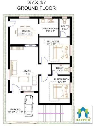 2 bhk home design layout image result for 2 bhk floor plans of 25 45 villas