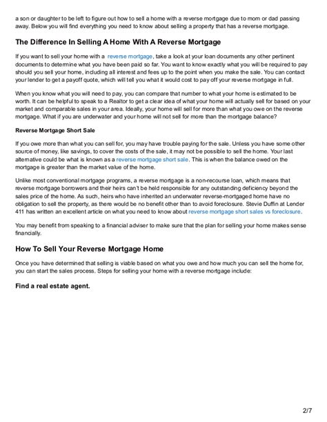 selling a house with a reverse mortgage selling a home with a reverse mortgage