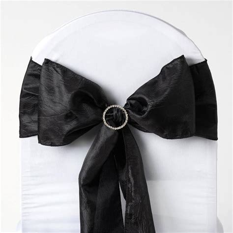 black taffeta chair sashes taffeta crinkle chair sash 6 quot x106 quot black 5pcs