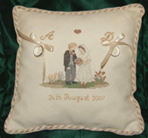 cross stitch wedding ring cushion