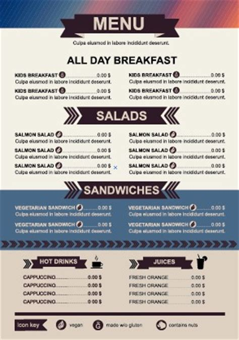 menu pricing template restaurant menu price list template vector 04 vector