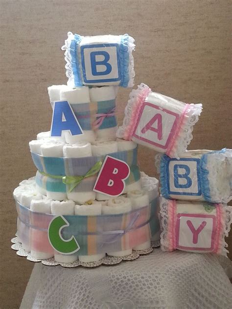 How To Make A Cake Centerpiece For Baby Shower by 3 Tier Cake Abc Alphabet Baby Shower Gift