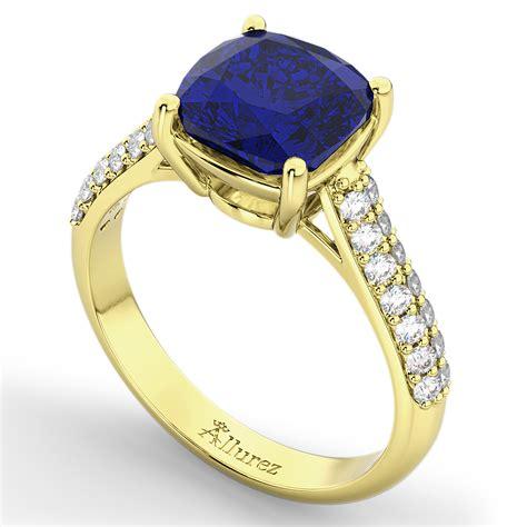 cushion cut yellow sapphire ring cushion cut blue sapphire ring 14k yellow gold 4