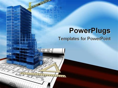 construction powerpoint presentation templates conceptual image of the house blueprint 3d project