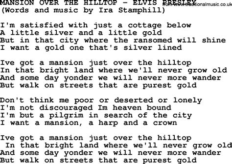 printable elvis lyrics mansion over the hilltop by elvis presley lyrics